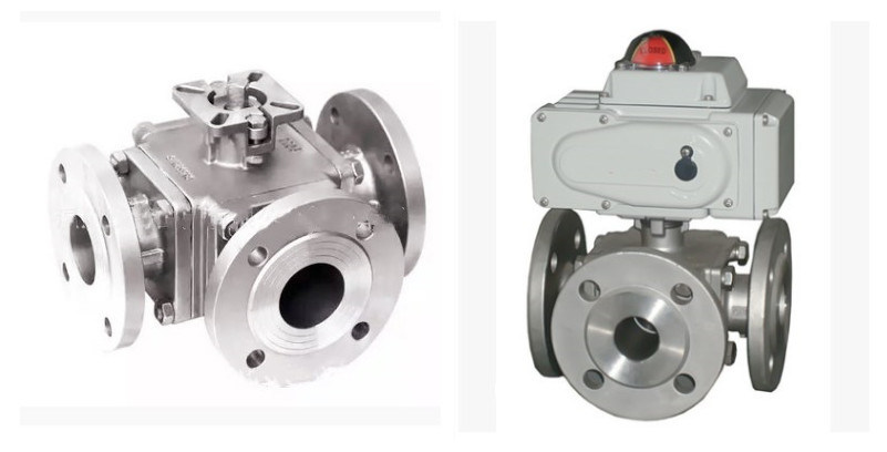 Electric Tee/ Three Way Flange Trip Clamp Ball Valve