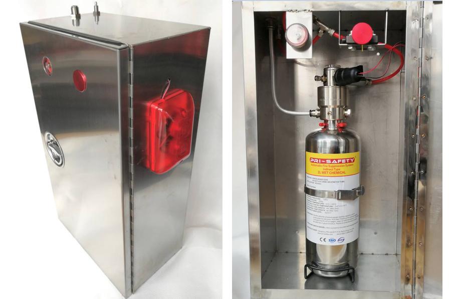 Système de suppression d'incendie de cuisine chimique humide avec boîte en acier inoxydable