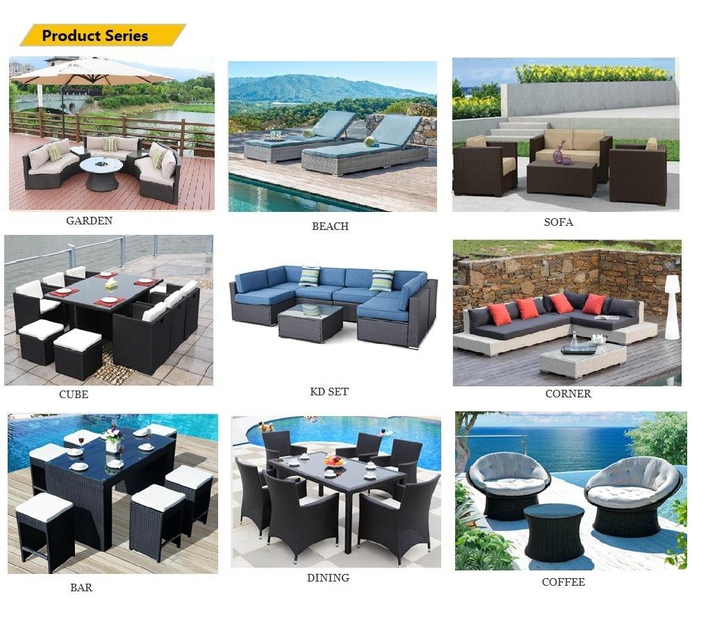 Garden Lawn Rattan Wicker Beach Bed Chaise Sun Lounge Furniture with Wheels