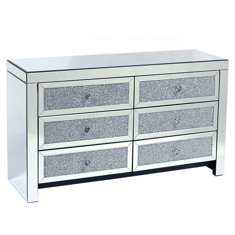 Furniture Mirrored 6 Drawer Dresser