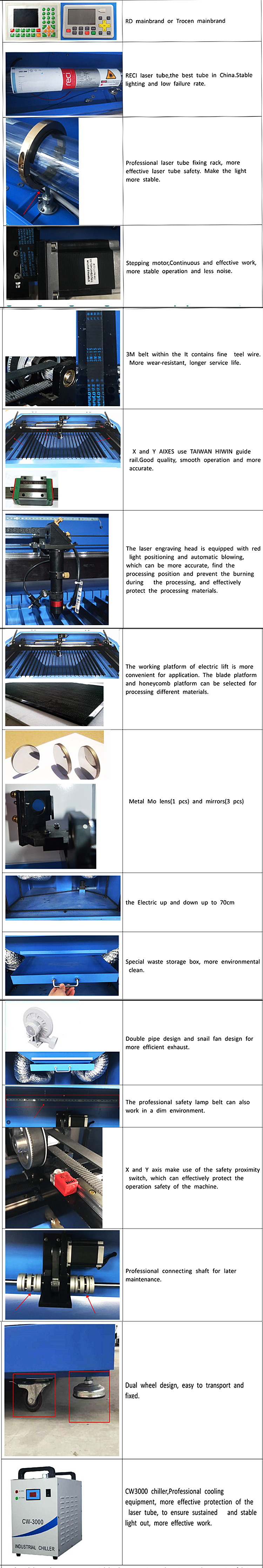 6090 Laser Marking/Cutting/Engraving Machine for Wood/Bamboo/Veneer/MDF/Wood/Plywood