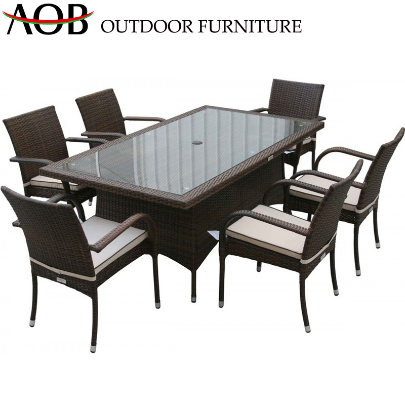 China Garden Dining Table Sets Six Chairs Glass Top Hotel Patio