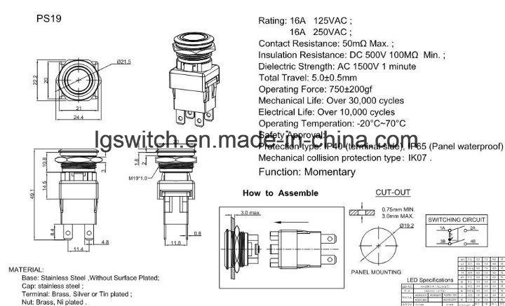 Power IP65 Waterproof Illuminated Light Push Button Switch 16A250VAC