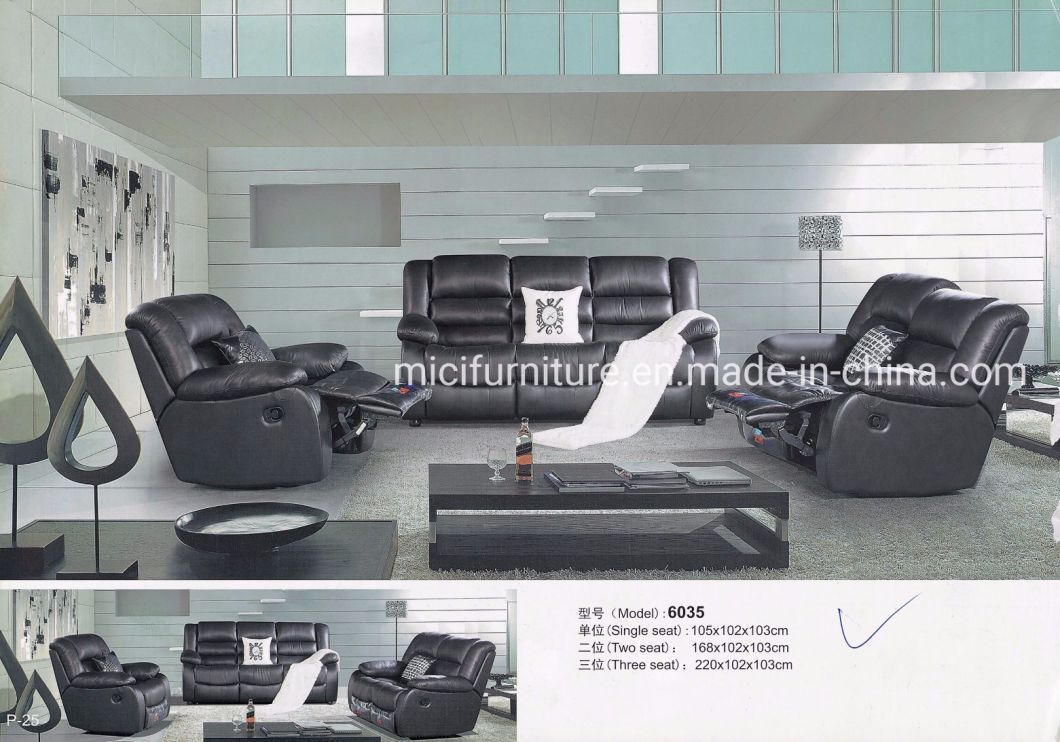 - China Black Fashion Design Sofa Set For Home Recliner Leather Sofa