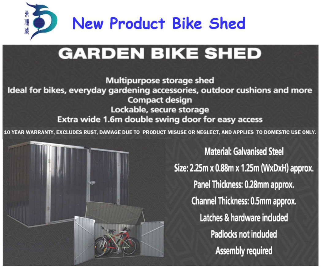 High Performance Home & Garden Easy Accemble Large Car Storage Steel Garden Shed (RDS2618-GG1)
