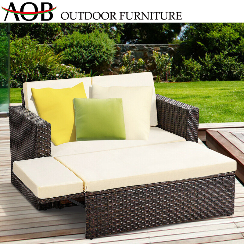 designer fashion d9d18 aa01d China Chinese Outdoor Garden Rattan Wicker Furniture Square Functional Sofa  Bed Daybed Sunbed Chines