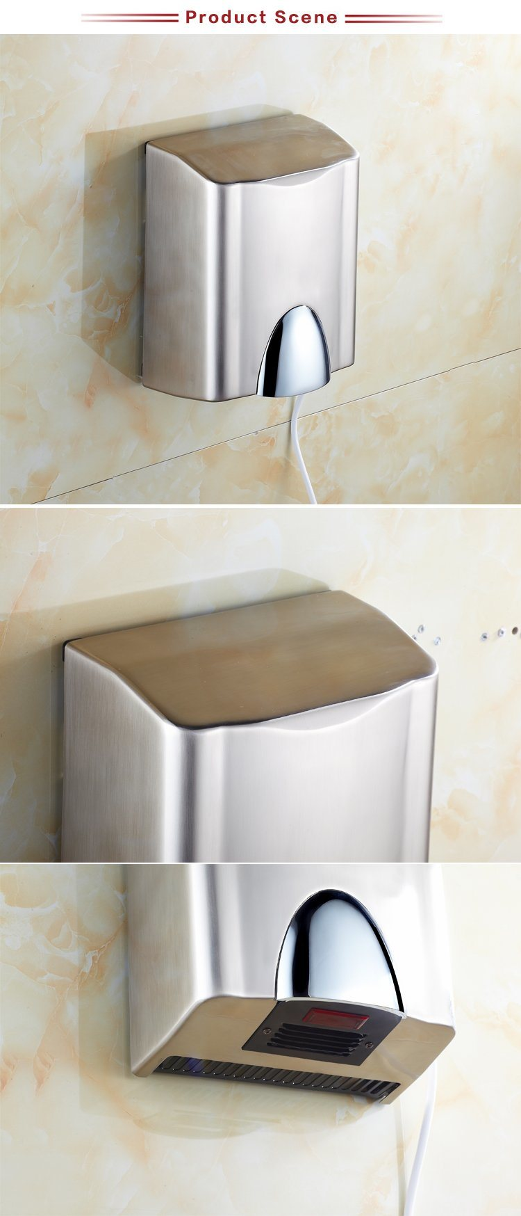 Ce Certification Automatic Jet Air Metal Hand Dryer Infrared Sensor for Bathroom