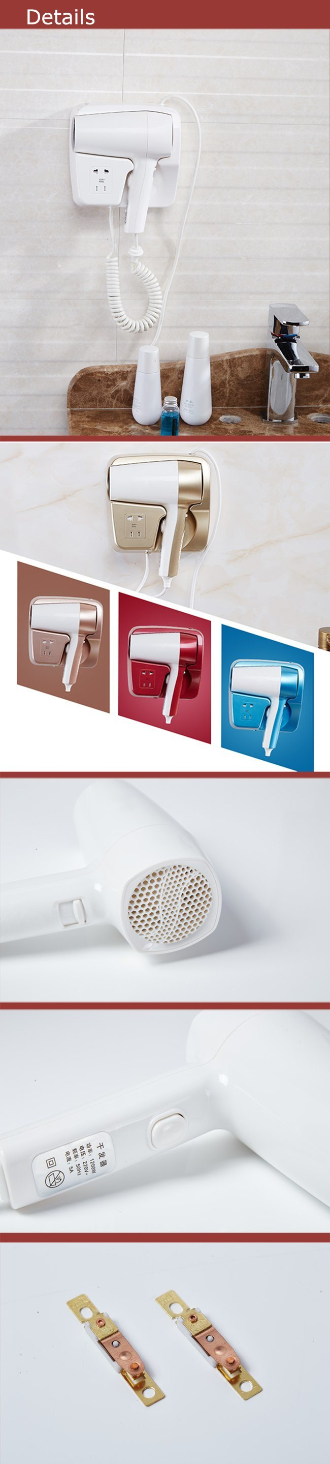 Top Quality White Hang up Hair Dryer with Socket