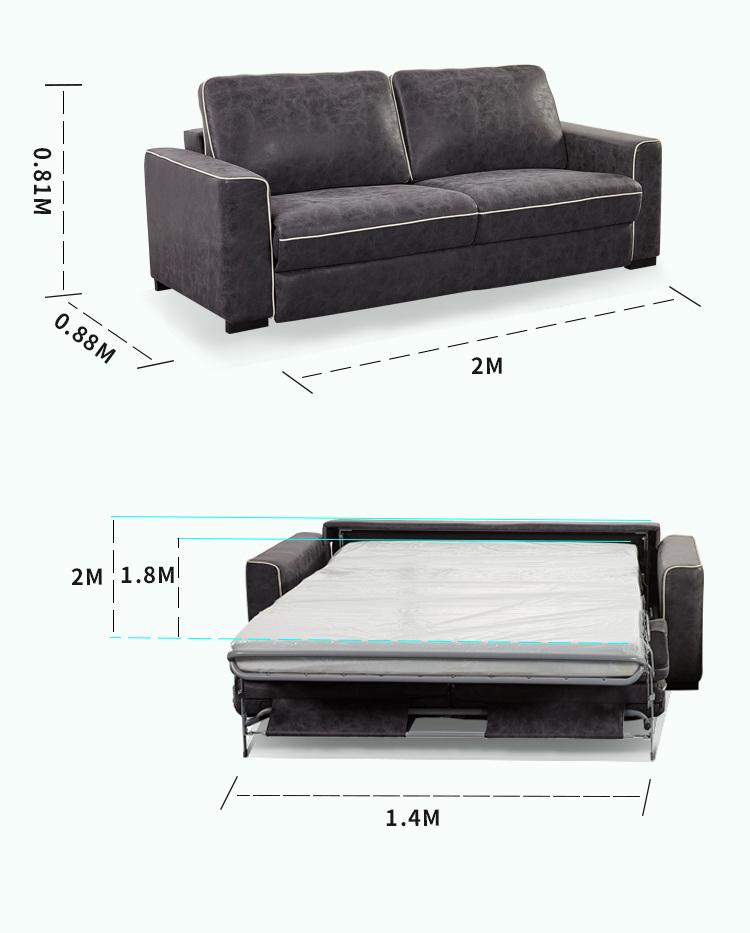 New Fashion Simple Cloth Sofa Folding Dual Use Double Bed