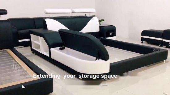 Meubles de salle de lit de luxe en cuir Taille double lit moderne (LB8817)