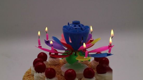 China Birthday Party Cake Firework Lotus Flower Shape Musical Candles