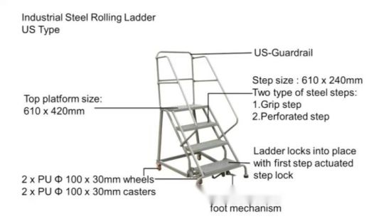 Admirable Hot Item Two Step Us Type Industrial Steel Rolling Ladders Ibusinesslaw Wood Chair Design Ideas Ibusinesslaworg