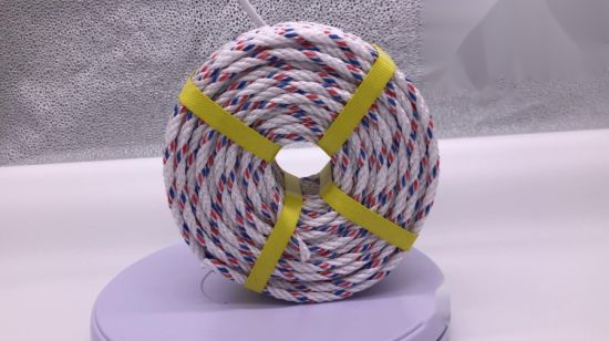 China PP Nylon Rope Plastic Twist Color Rope with 6mm White&Red