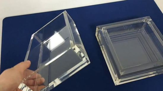 China Colored Acrylic Cube Display Stand Square 5 Sided Box Perspex