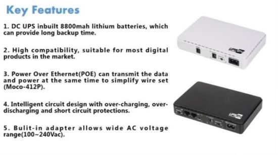 Mini UPS Battery Backup 8800mAH Uninterruptable Power Supply System with POE...