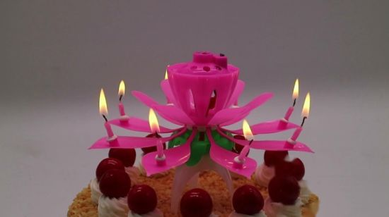 China Firework Sparkling Lotus Flower Music Candles With Single Layer For India