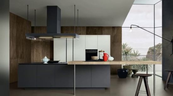 Diseño de Muebles modulares modernos de negro mate gabinetes de cocina con  encimera de mármol
