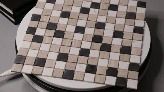 Mosaico Di Legno.Mosaico Di Pietra Di Marmo Grigio Di Atene Del Grano Di Legno Delle Mattonelle Di 4mm Carrara
