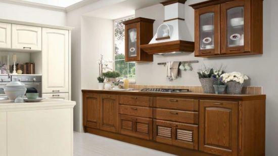 Armadio da cucina 2018 curvo classico di legno solido della mobilia della  cucina