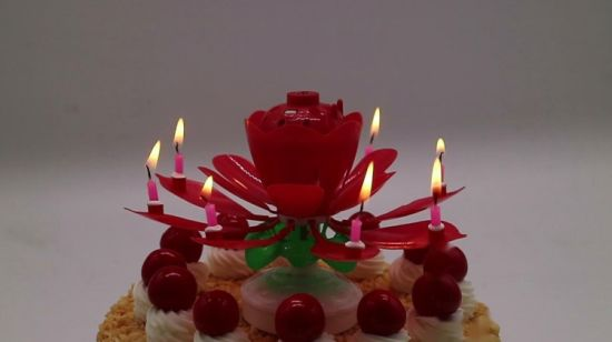 China Wholesale Rotating Best Selling Flower Firework Musical Happy Birhtday Candle With Double Layers