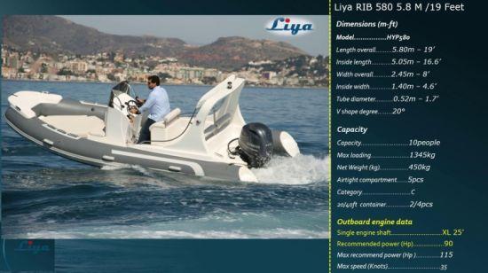 Liya Popular Rib 580 Rigid Inflatable Boats China Racing Boat