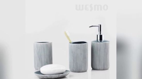 China Crackle Glaze Porcelain Bathroom Accessories With Decal (WBC0611A)    China Bathroom Set, Bathroom Accessories