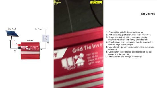 China Suoer 1000W MPPT Grid Tie Power Inverter (GTI-D1000B
