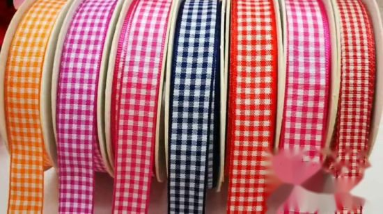 Wire Edge Ribbon 38mm Red /& white Check Gingham fabric High Quality New