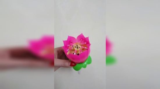 China Rotating Flower Happy Birthday Candle With Music