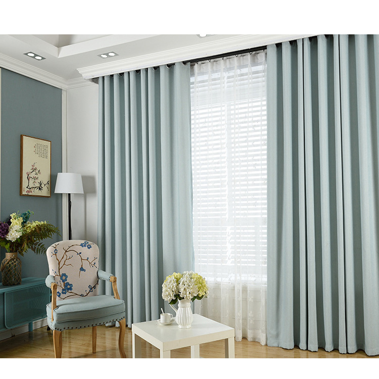 Hot Item Thick Linen Solid Color Blackout Curtain Fabric Custom Hotel Living Room Bedroom Finished Curtains Whole