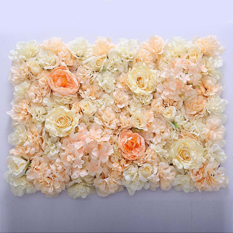 China Rose Artificial Flower Wall For Wedding Decoration