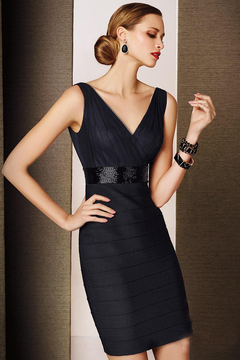 China V Neck Sequin Belt Ruched Short Black Ladies Cocktail Dress ...