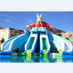 [Hot Item] China Factory Price Commercial Giant Blue Cartoon Inflatable  Water Slides for Sale