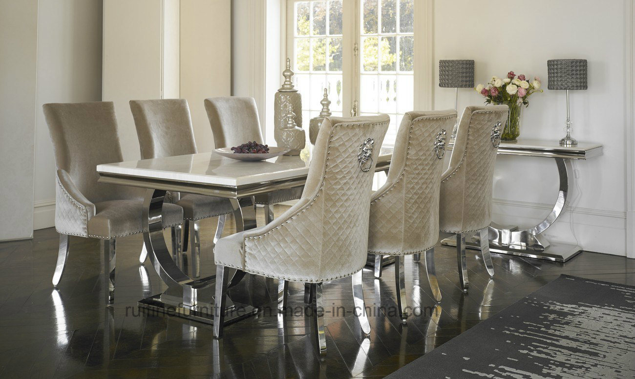China modern ivory cream marble top arianna chrome dining table stainless steel with cream velvet fabric chairs china dining table marble dining table