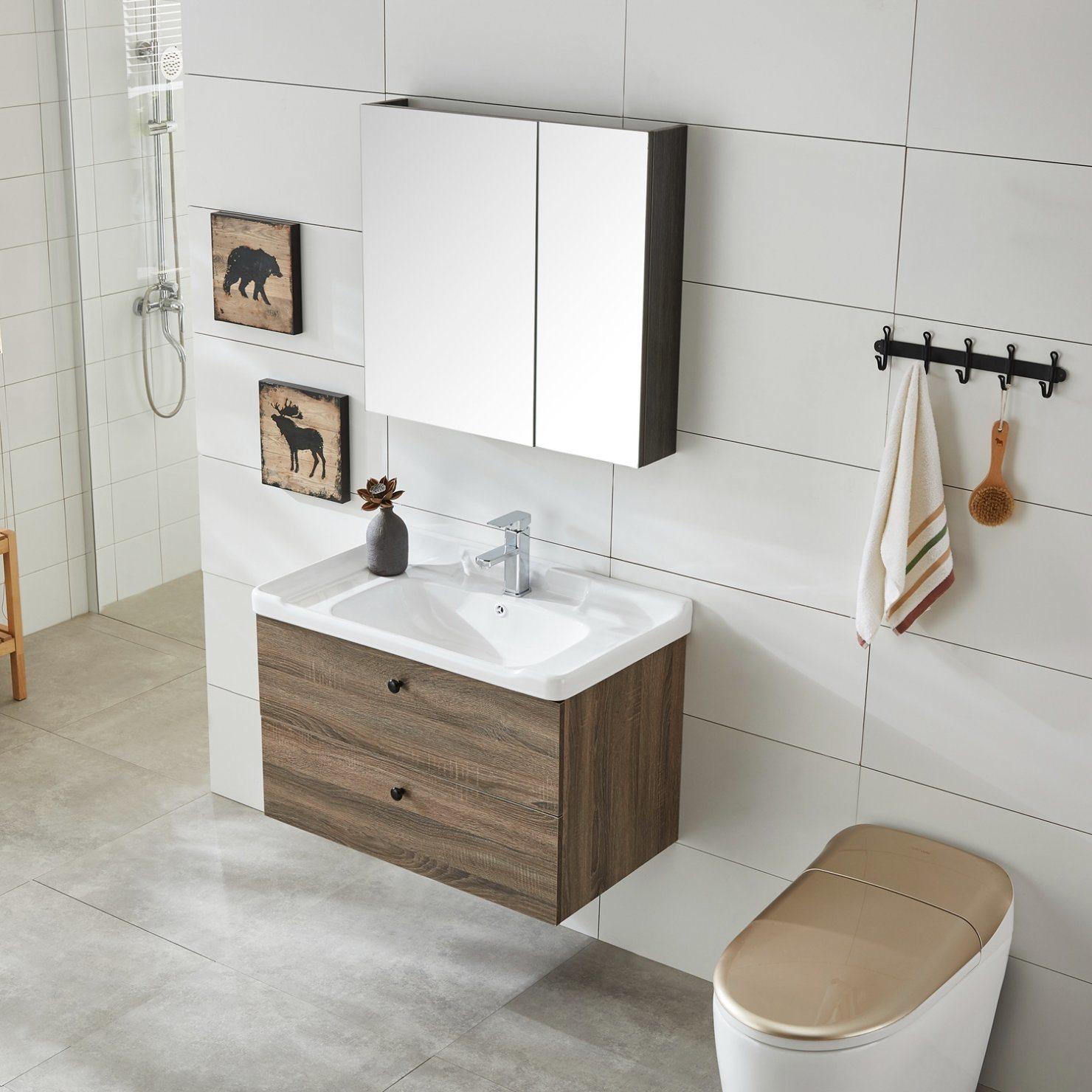 China Simple Cheap Modern Home Bathroom Furniture Solid Wood Bathroom Vanities China Solid Wood Bathroom Cabinet Bath Cabinet