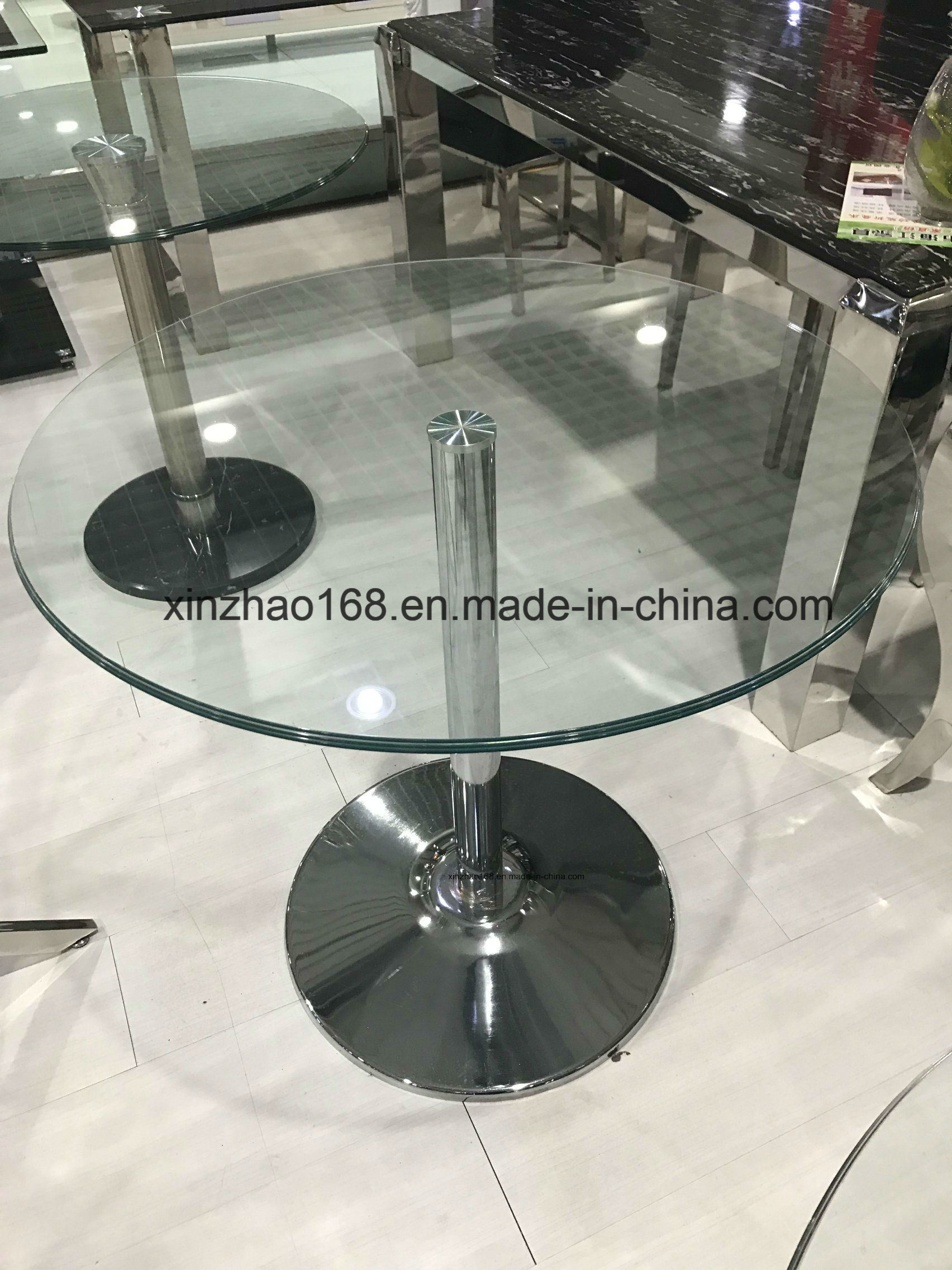 Hight Quality Coffee Glass Table With Stainless Steel Leg
