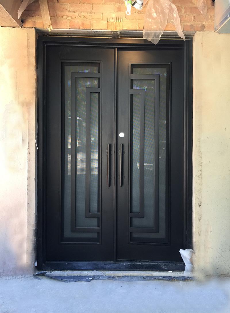China Beautiful Hand Made Security Iron Front Door With Glass Photos