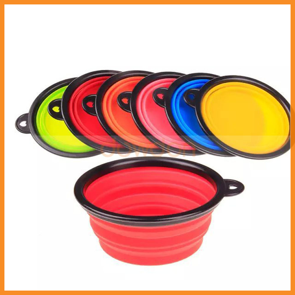 Portable Dog Water Bowl >> Hot Item Silicone Collapsing Travel Folding Portable Dogs Pets Food Water Bowl