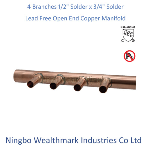 "Lead Free 4 Branches 1/2"" Solder X 3/4"" Solder Open End Copper Manifold"