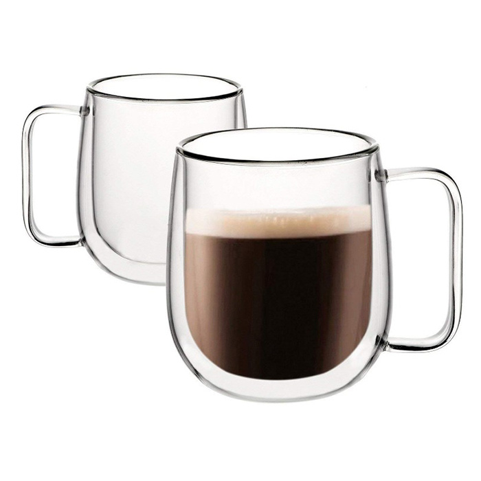 China Customize Double Wall Glass Cup Borosilicate Glass Coffee Mug