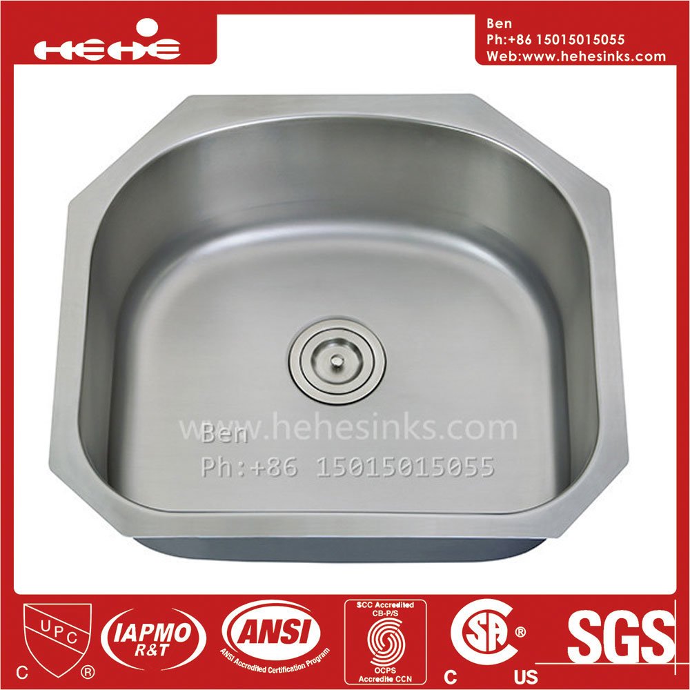 China Kitchen Sink Stainless Steel D Shape Under Mount Single Bowl