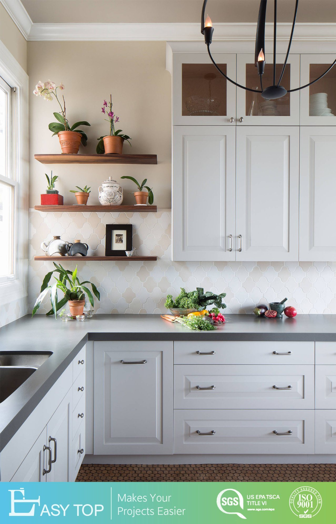 Modular Simple Kitchen Design Solid Wood Kitchen Cabinets Ghana Imported  Kitchen Units