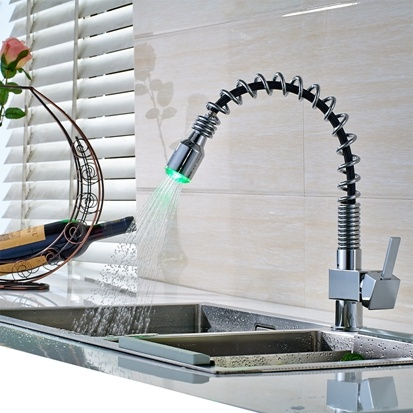 China Kitchen Sink Faucet Led Light Changing Pull Out China Faucet Kitchen Faucet