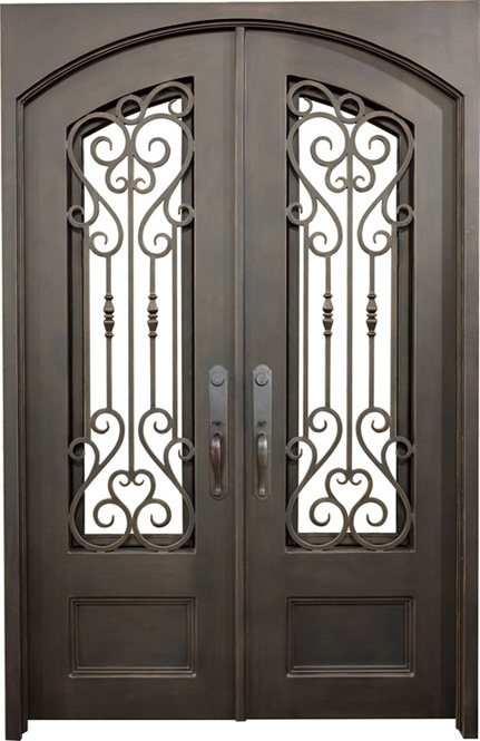 China Modern Steel Grill Design Main Entrance Wrought Iron Door