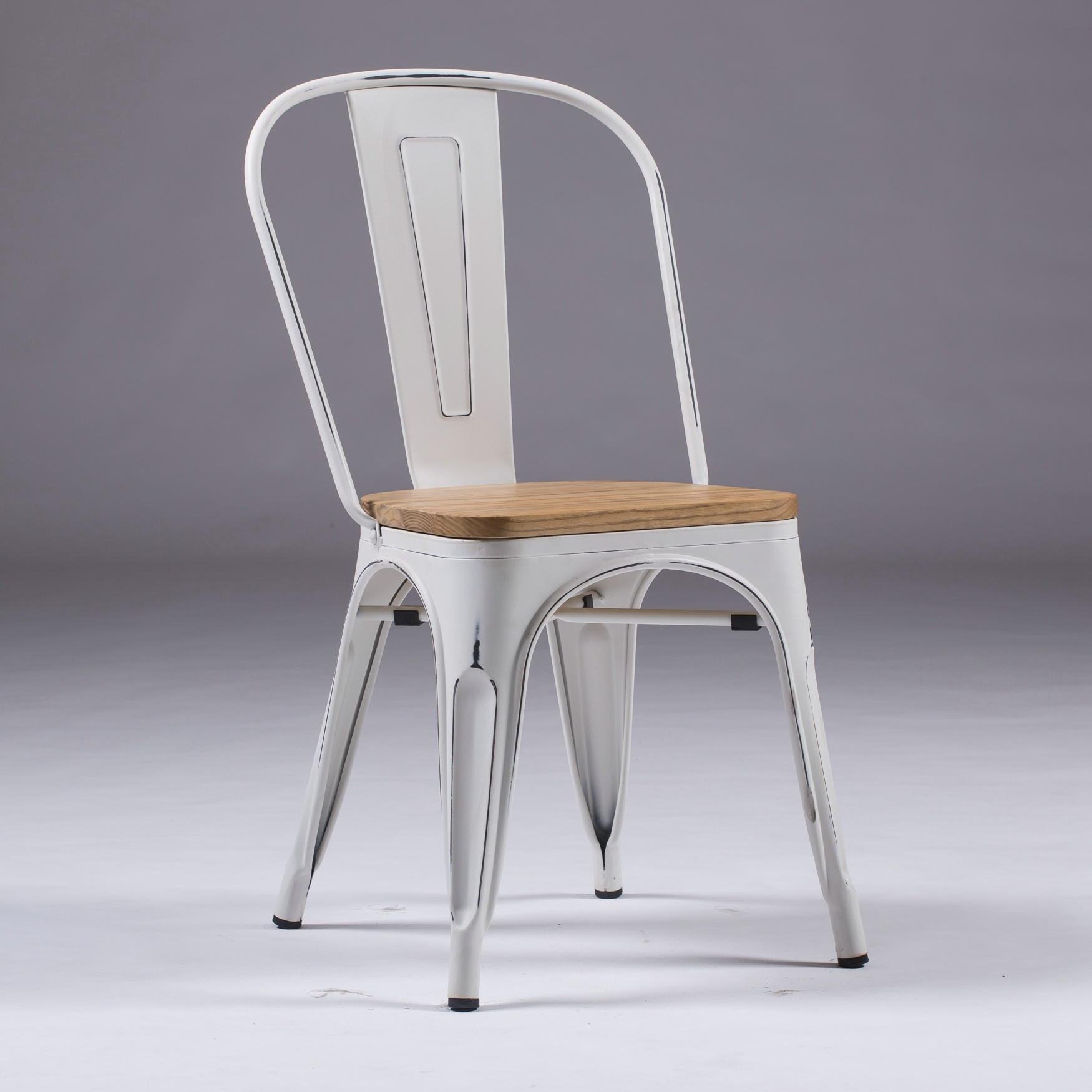Hot Item Vintage White Tolix Dining Chairs Industrial Metal Stackable Cafe Side Chair W Wood