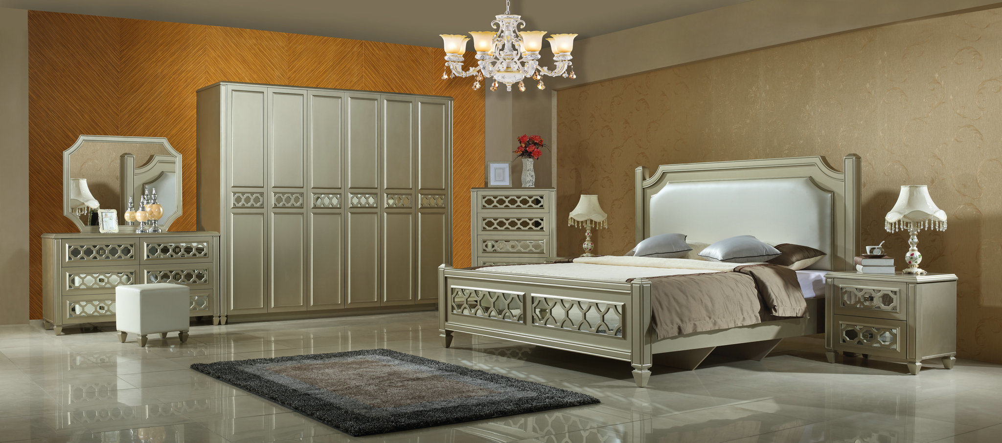 China Modern Mdf Bedroom Furniture With Mirror Photos Pictures Made In China Com