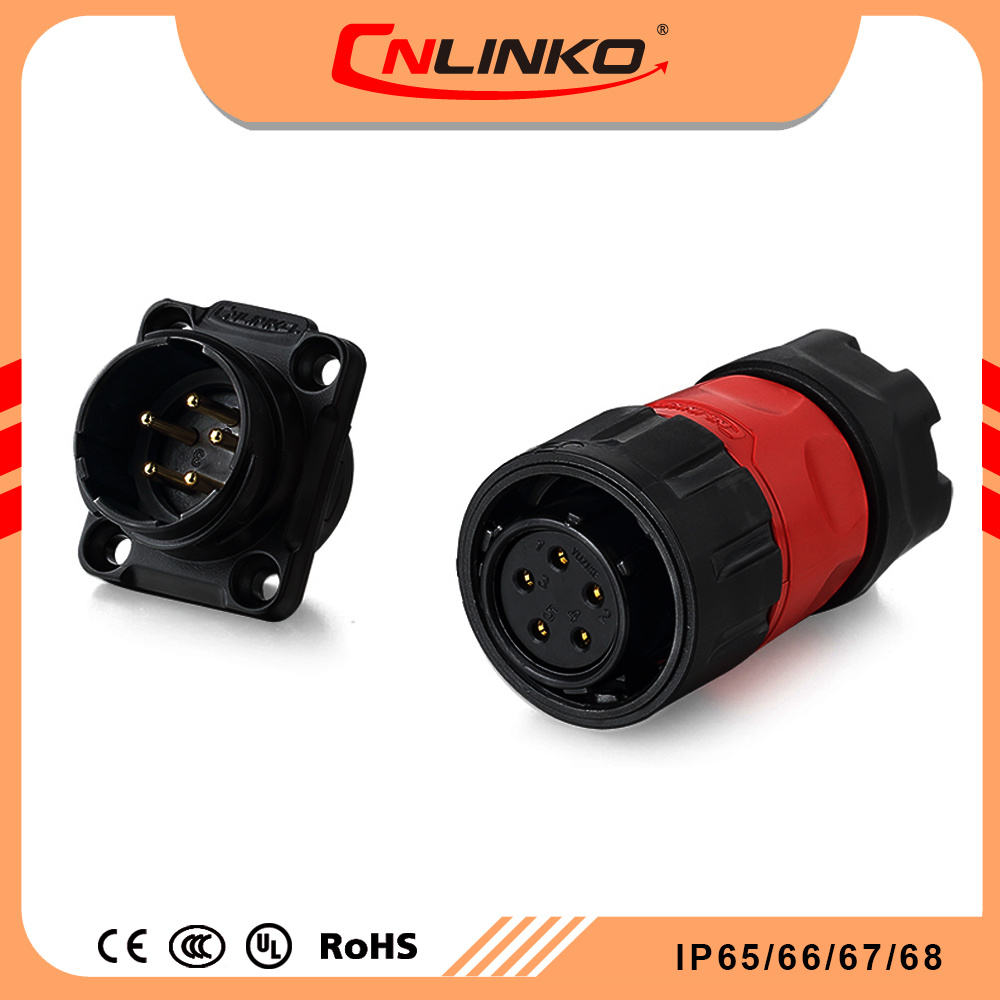 China Cnlinko Ym20 5pin Male Female Waterproof Ip65 Ip67 Wire Wiring A Plug Straight Electrical Connector For Outdoor Led Lighting Connectors