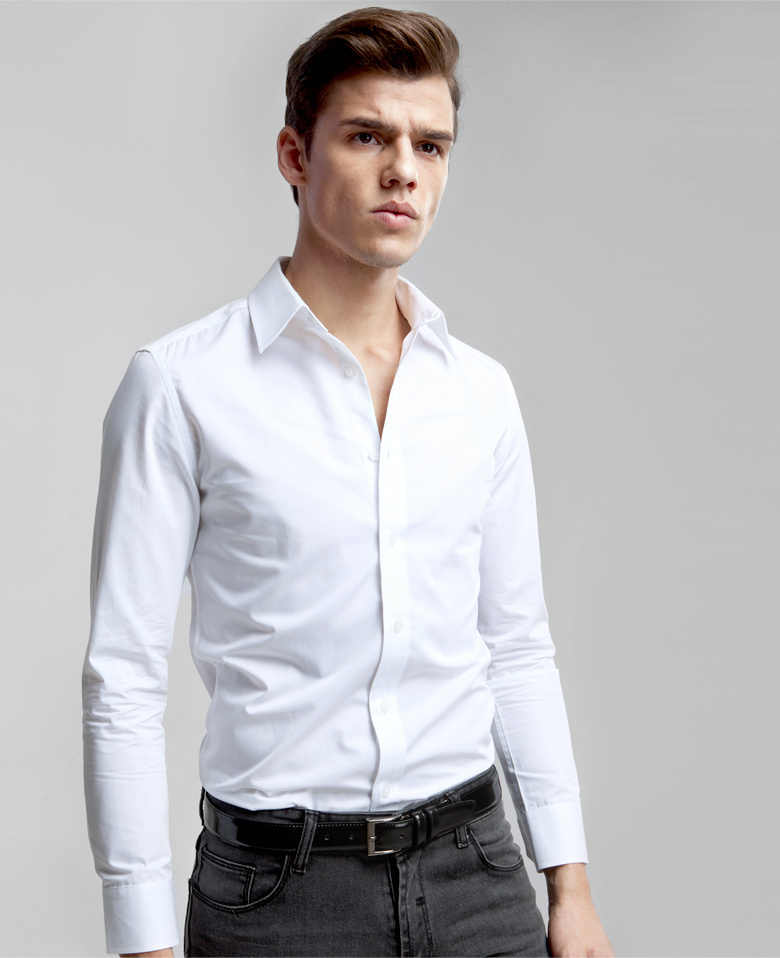 China Slim Fit Back Dart Long Sleeve White Shirt for Men - China Shirt f52cbf6f944