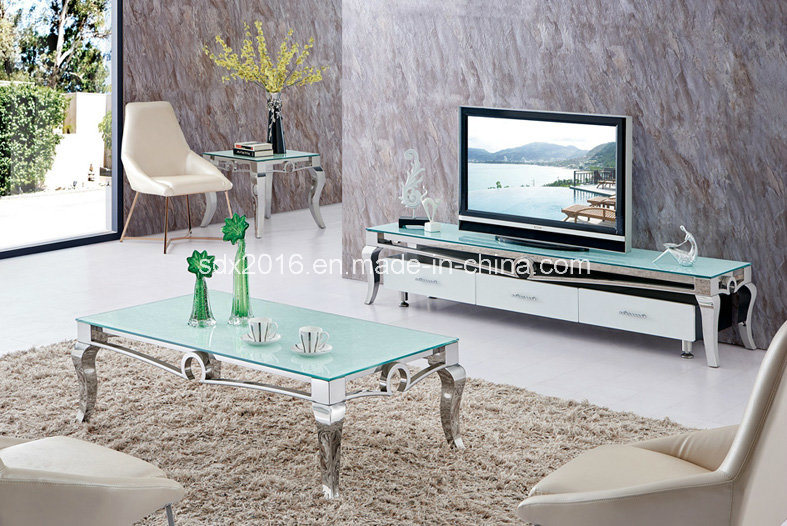 Modern Simple Glass Tea Table, Stainless Steel Glass Coffee Table