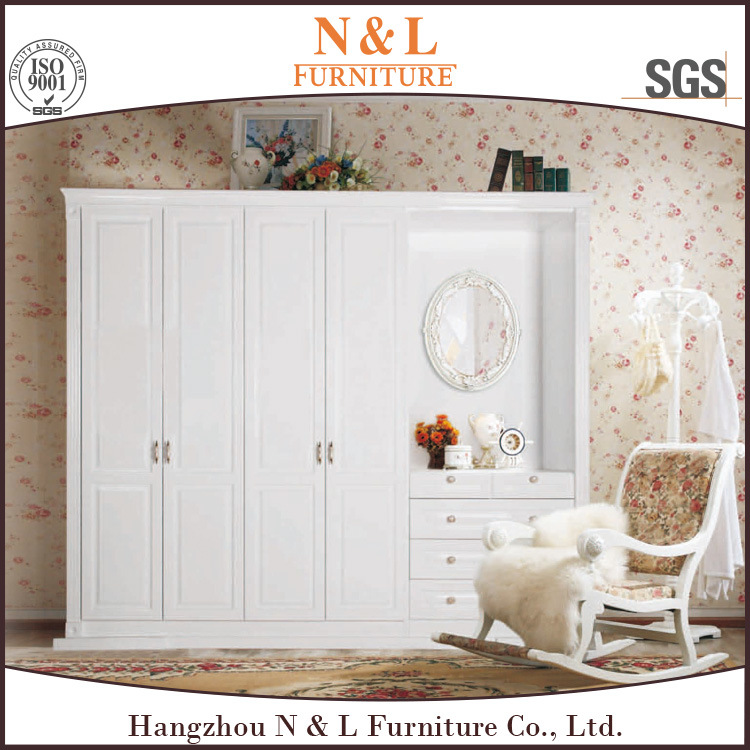 China Custom Bedroom Wardrobe Designs White Wooden Furniture With Open Doors